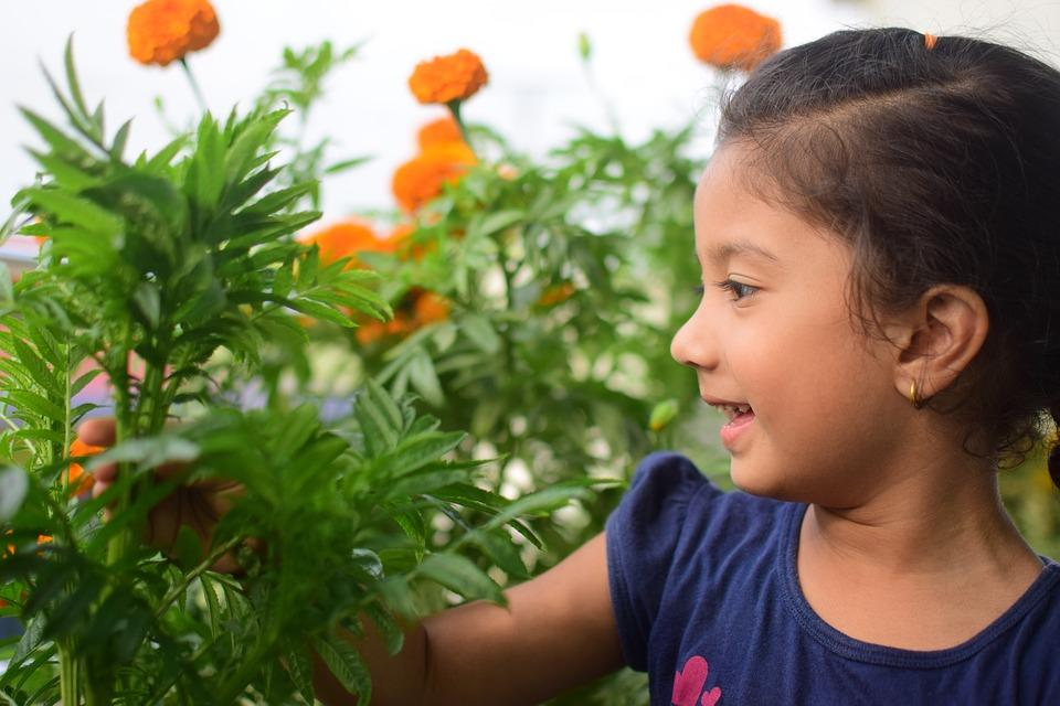 girl in garden Vegetable consumption increases when children learn to garden!