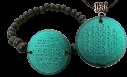 Set Blue Bracelet and Pendant Orgonite Orgonite Jewelry Bracelet and Pendant Sets