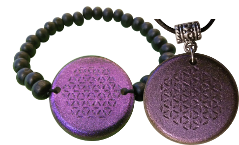 Set Purple Bracelet and Pendant Orgonite Orgonite Bracelet and Pendant Sets