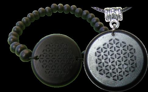Set Shungite Bracelet and Pendant Orgonite Jewelry Bracelet and Pendant Sets
